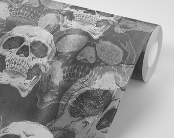 Wallpaper Skulls Death Retro Black Gothic Grey Pattern Peel & Stick - Repositionable FREE SHIPPING