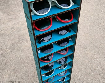 10ct Sunglasses Organizer Display Rack Stand Case Box Drawer Eyewear Holder  TURQUOISE Sunglass Shelf HANDMADE In Tx