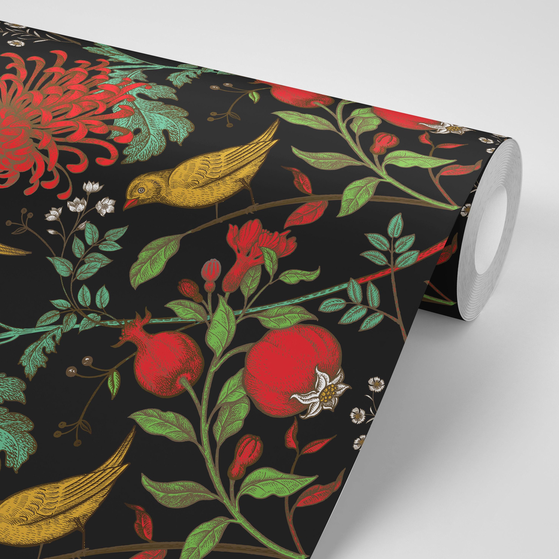 Wallpaper Floral Birds And Black Peel Stick Wallpaper Etsy