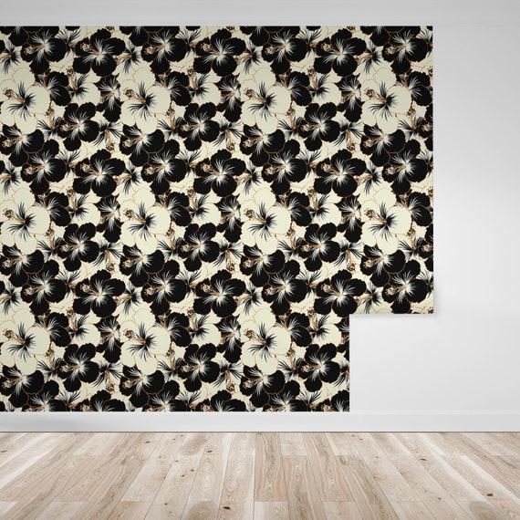 Papier Peint Fleurs Floral Japonais Noir Et Blanc Sur Noir Floral