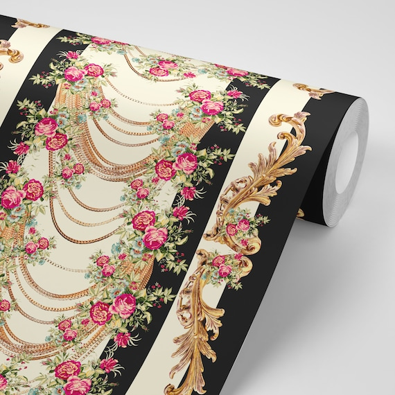 Wallpaper Floral Gold Chains Peel Stick Wallpaper Repositionable Free Shipping