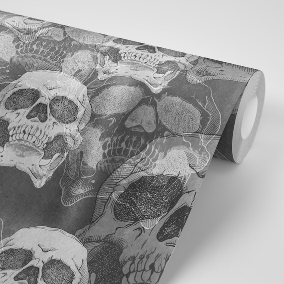 Wallpaper Skulls Death Retro Black Gothic Grey Pattern Peel Stick Repositionable Free Shipping