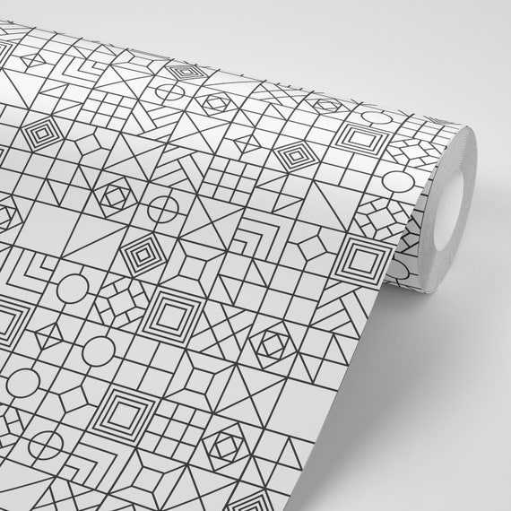Wallpaper Geometric Various Designs On Black And White Peel Stick Wallpaper Repositionable Free Shipping
