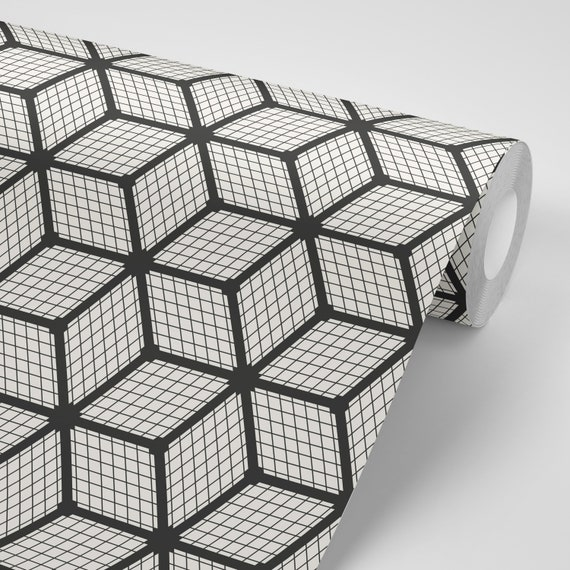 Wallpaper Geometric Decor Cubes Black On White Peel Stick Wallpaper Repositionable Free Shipping