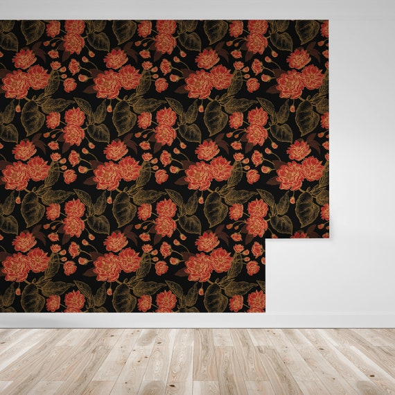 Wallpaper Red Flowers Gold Lined Leaves On Black Peel Stick Wallpaper Repositionable Free Shipping