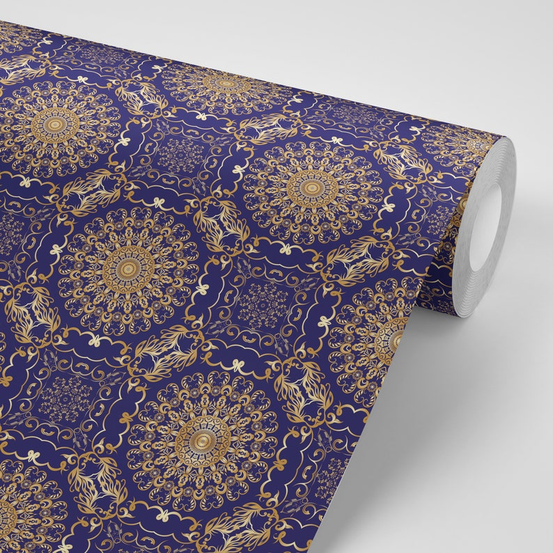 Wallpaper Damask Gold on Royal Blue Pattern Peel /& Stick Repositionable FREE SHIPPING