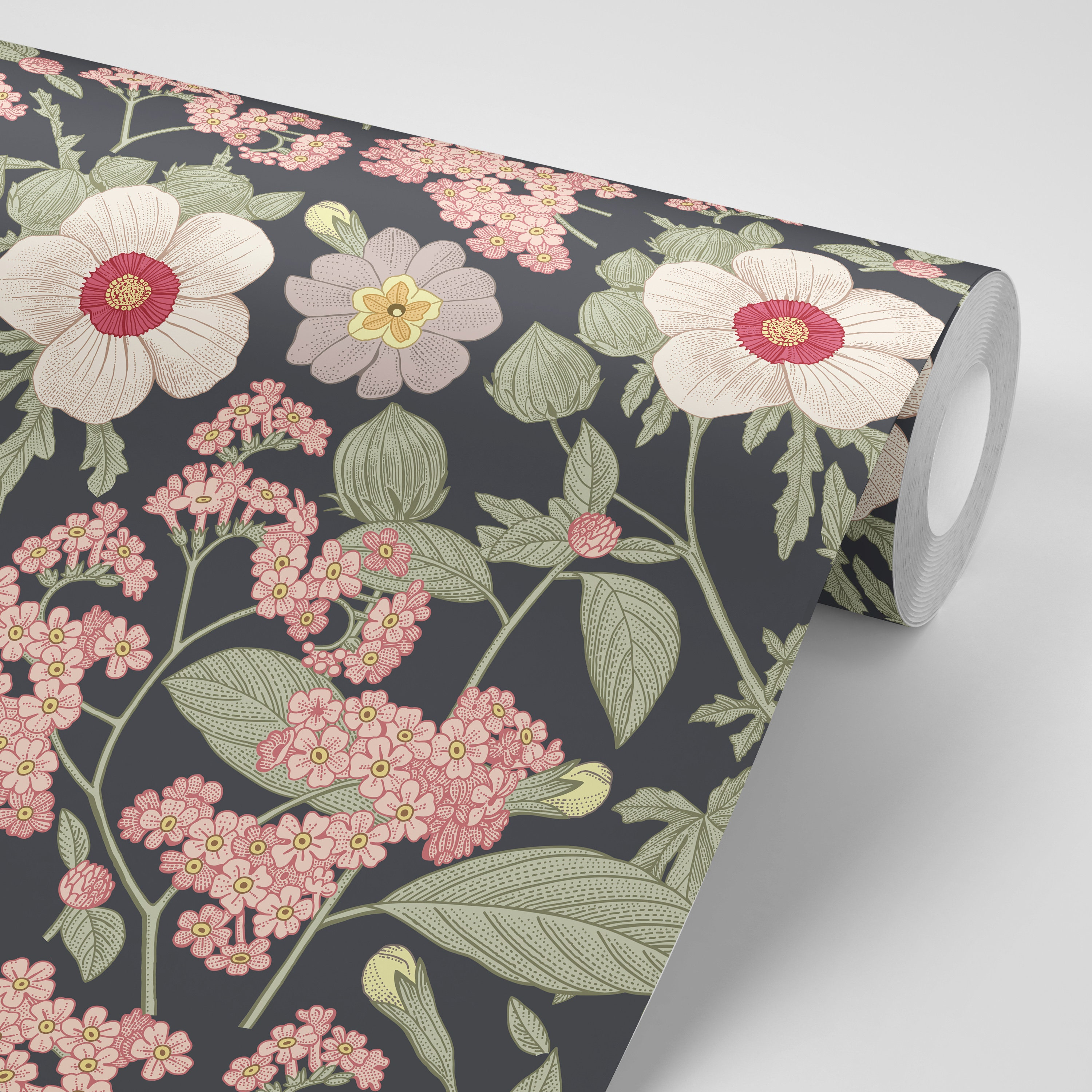 Wallpaper Floral Flowers Green Leaves On Black And Grey Floral Etsy