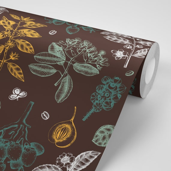 Wallpaper Floral Flowers Green Leaves On Brown Floral Peel Stick Wallpaper Repositionable Free Shipping