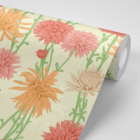 Wallpaper Zinnias On Pale Green Peel Stick Wallpaper Repositionable Free Shipping