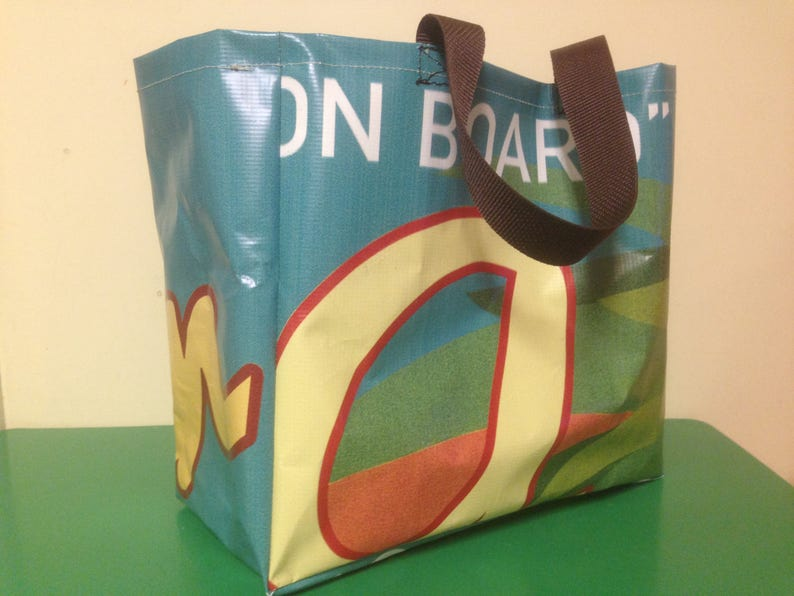 Upcycled vinyl shopping bag market tote