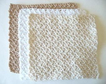CLOSING SHOP SALE: Crocheted Cotton Dish Cloth Set
