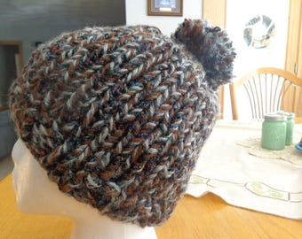 Hand knit ribbed hat
