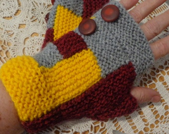 Colorblock fingerless mitts
