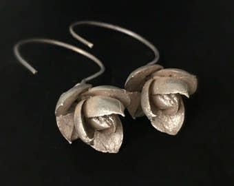 On sale today Flower earrings -Nature inspired earrings-Silver plant earrings -Dangle earrings -Succulent jewelry -Wedding earrings -Gift