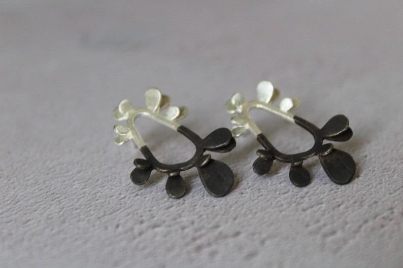 f75f8b87c Funky earrings-Sterling silver stud earrings-Semi oxidized   Etsy