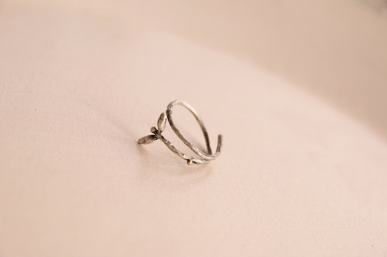 Sprout ring-Spring sprout jewellry-Nature delicate ring-Natural organic jewelry-18K Solid gold dot Sterling silver Botanical ring