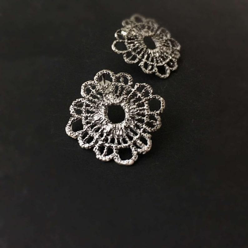 Bohemian jewelry Silver lace earrings Silver Boho earrings Gift for her