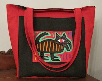 Red and Black Tote Bag With A Mola In The Middle