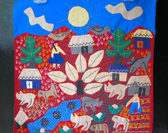 Vintage South American Folk Art Appliqued and Embroidered Wall Hanging