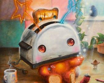 Pop Surrealism Print - Toaster - Cute - Art - Nature - Kitchen Art - Coffee - Mushroom - Bird - Colorful