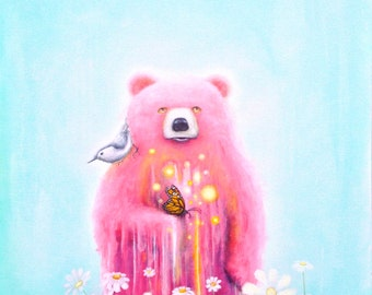Bear Fine Art Print -  Pink Bear - Prints - Pop Surrealism -  Nature - Bird - Butterfly - Daisies -  Surreal - Psychedelic - Art