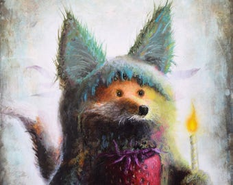 Fox Print - Strawberry - Surreal Art - Pop Surrealism -  Symbiosis - Painting -