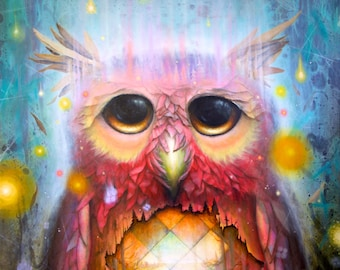 Surreal Owl Print - Owls - Bird Prints - Blue - Pink - Glow -  nature -  birds - leaves - pop surrealism. -