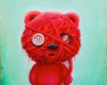 Red Bear Print - Yarn - Fine Art - Prints - Surrealism - Art - Artwork - Nature - Character