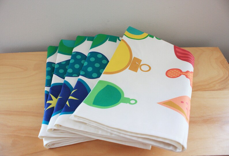 Cheerful Rainbow Holiday Ornaments Tea Towel made from Linen image 0