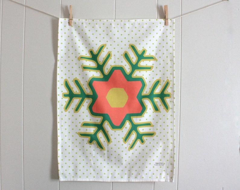 Holiday Folk Flower  Linen Cotton blend Tea Towel 18 x 24 image 0