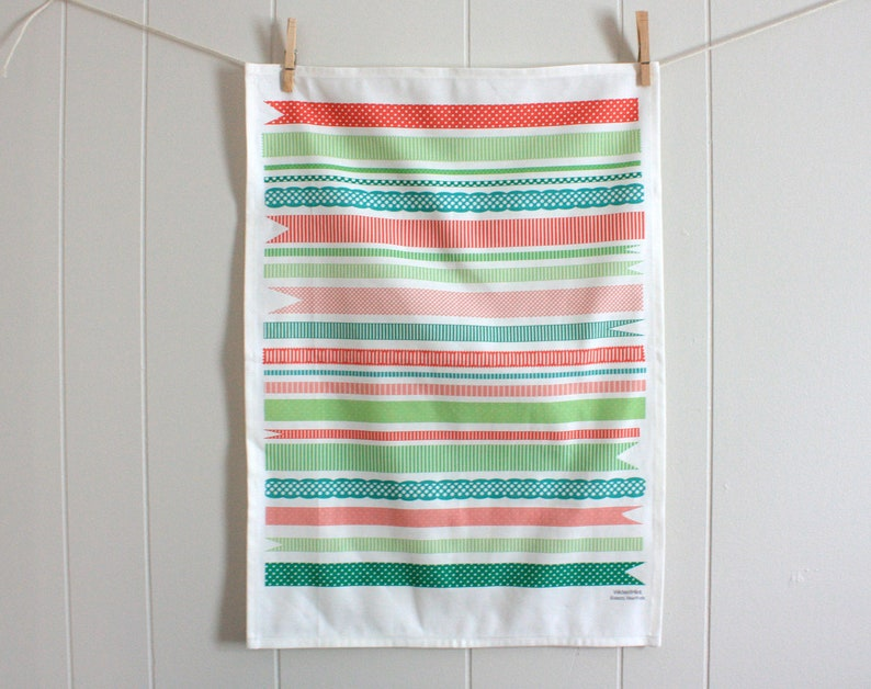 Pretty Ribbons in Pink Red and Green  Linen Cotton blend Tea image 0
