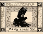 Red Wing (An Indian Fable)- 6pack of notecards w envelopes drawn and printed by LC DeVona of 1907 T Chattaway song lyrics