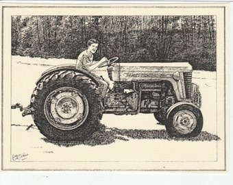 Massey tractor art | Etsy