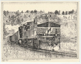 Norfolk & Southern Engine 9115-This 6-pack of blank, ivory notecards w envelopes features an ink drawing of a freight train engine