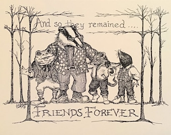 And So They Remained Friends Forever LC DeVona notecards-6, blank, ivory cards w env based on the last chapt of Wind in the Willows