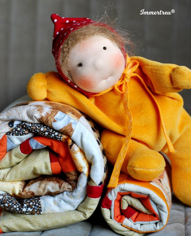 Girl doll sheep wool Immertreu rag doll Waldorfart image 0