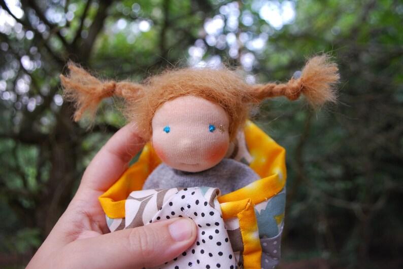 Mini girl doll sheep wool Immertreu rag doll Waldorfart image 0
