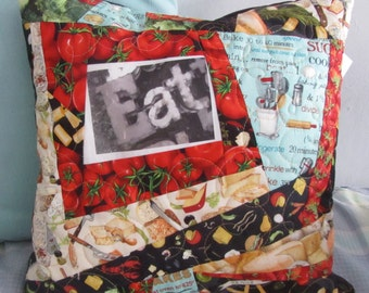Quilted Foodie Throw Pillow