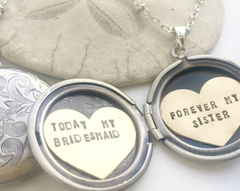Personalized bridesmaid gift, Will You Be My Bridesmaid, Be my MOH necklace, forever my sister, Bridesmaid gift, heart locket necklace
