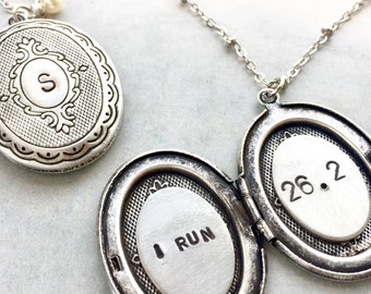 Initial locket necklace, gift for runner, Personalized jewelry, silver oval locket, personalized jewelry, personalized gift for marathon