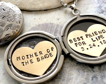 Mother of the Bride necklace, Personalized jewelry, Best Friend For Life, Wedding gift for mom, Personalized locket necklace, Custom message