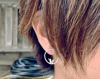 Sterling Silver Cat Stud Earrings, Gift for Cat Lover, Cat Silhouette Earrings, Modern Cat post earrings, Cat Earrings, Cat Jewelry