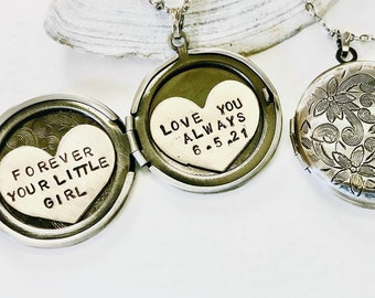 Mother of the Bride necklace, Personalized jewelry, Love you Always, Wedding gift for mom, Forever your little girl, Customized Locket