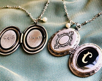 Initial locket necklace, anniversary date, Personalized jewelry, two initials, silver oval locket, personalized jewelry, personalized locket