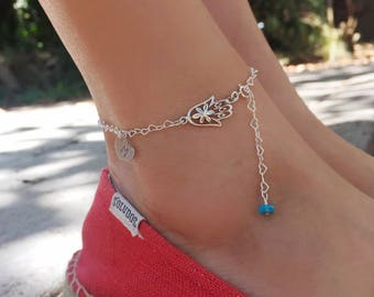Initial Anklet, Hamsa hand anklet, Personalized anklet, Heart anklet, couple initials, monogram anklet, custom name anklet, gift for her