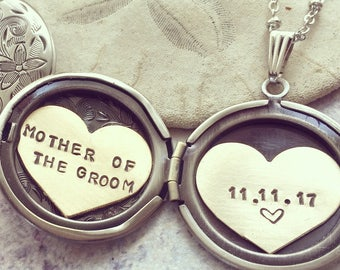Mother of the Groom necklace, Personalized jewelry, Custom engraved message, Wedding gift for mother in law, Personalized locket necklace