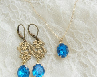 Bridesmaid jewelry set, Vintage oval Sapphire rhinestone matching earrings necklace, Wedding party gift
