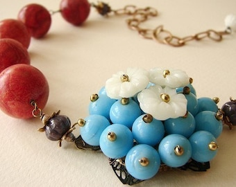 Flower Statement Necklace, beadwork turquoise blue beaded flower red coral flower necklace, floral statement necklace