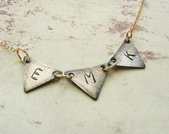 Initial necklace, Personalized jewelry alphabet necklace, monogram necklace, triangle charm, Personalized gift for her