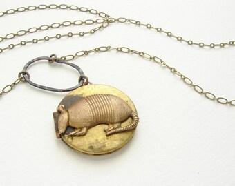 Armadillo Locket Necklace, animal necklace, vintage locket necklace, photo locket Armadillo long necklace